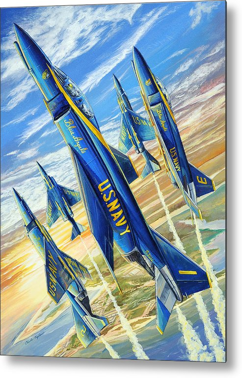 Blue Angels Metal Print featuring the painting Phantom Angels by Charles Taylor