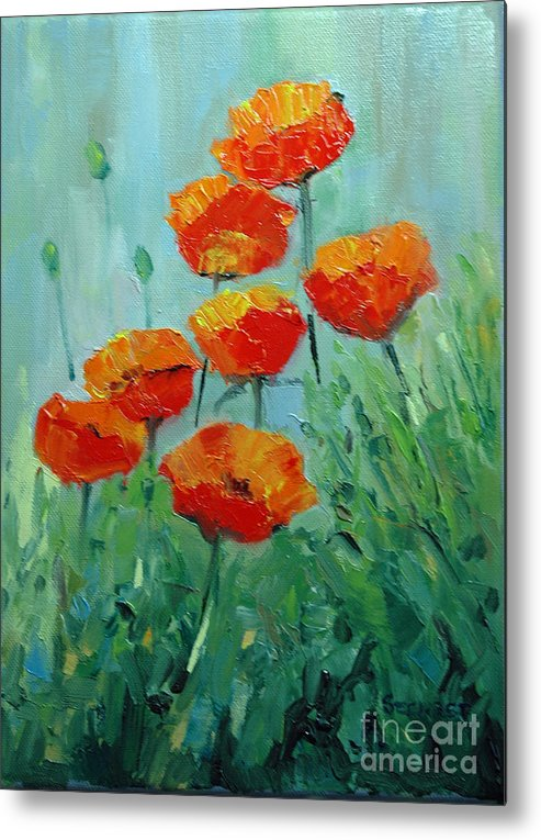 Floral Metal Print featuring the painting Poppies For Sally by Glenn Secrest