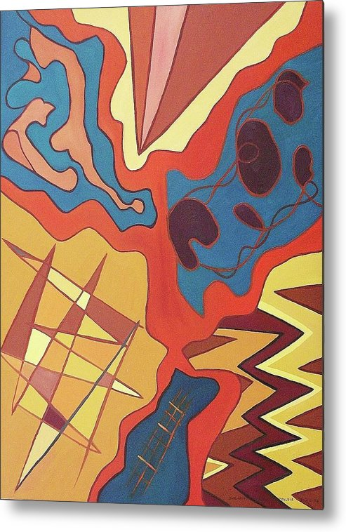 Abstract Metal Print featuring the painting Puzzle by Suzanne Marie Leclair
