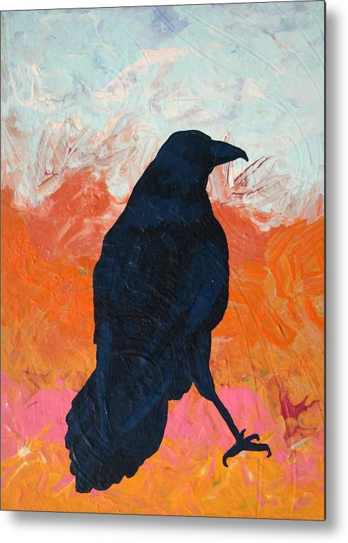 Raven Metal Print featuring the painting Raven II by Dodd Holsapple