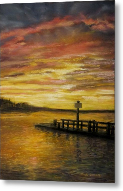 Sunset Metal Print featuring the painting Sesuit Harbor At Sunset by Jack Skinner