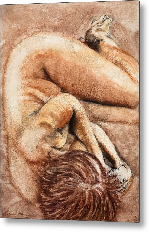 Nude Metal Print featuring the drawing Slumber Pose by Kerryn Madsen-Pietsch