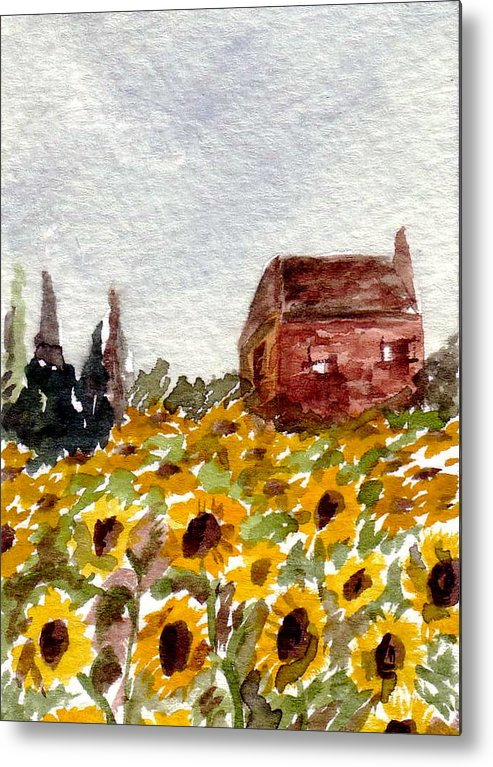 Original Art Metal Print featuring the painting Sonoma Hillside Series Sunflowers by K Hoover