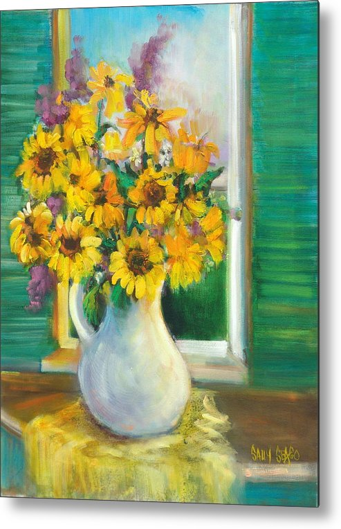 Flowers Metal Print featuring the painting Spring Daisies by Sally Seago