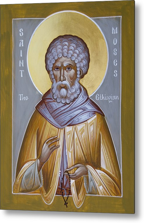 St Moses The Ethiopian Metal Print featuring the painting St Moses The Ethiopian by Julia Bridget Hayes