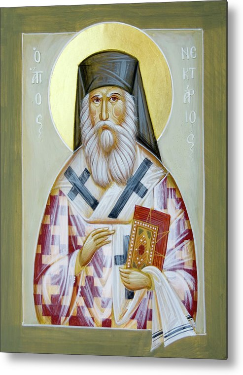 St Nektarios Of Aigina Metal Print featuring the painting St Nektarios Of Aigina II by Julia Bridget Hayes