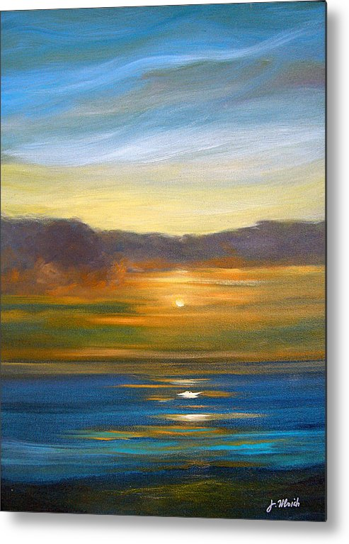 Seascape Metal Print featuring the painting Sunset 9 by Jeannette Ulrich