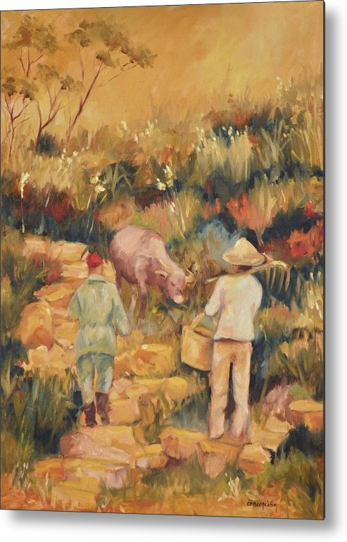 Water Buffalo Metal Print featuring the painting Taipei Buffalo Herder by Ginger Concepcion