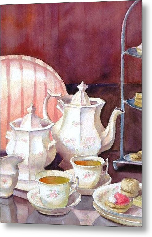 Tea Set Metal Print featuring the painting Tea For Two by Dorothy Nalls