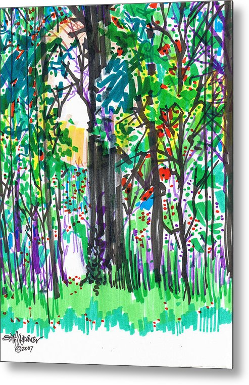 Forest Metal Print featuring the drawing Thicket by Seth Weaver