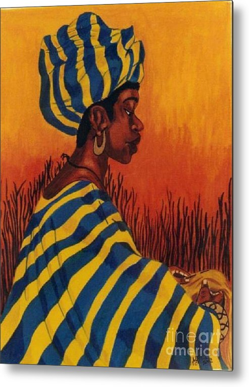 African Woman Metal Print featuring the drawing Untitled by Alma Lee -A Lee- Smith