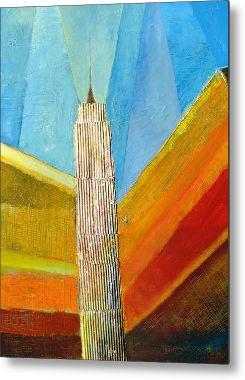 Abstract Cityscape Metal Print featuring the painting View From 34th St by Habib Ayat