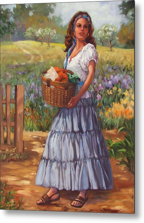 Female Figure Metal Print featuring the painting Wash Day by Dianna Willman