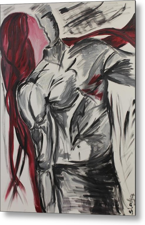 Portraits Metal Print featuring the painting When The Women Loves A Man by Sladjana Lazarevic
