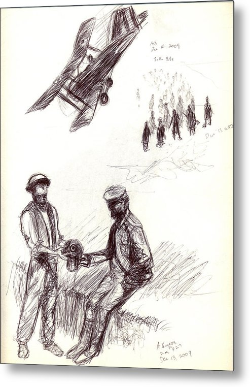Military Metal Print featuring the drawing World War One Sketch No. 2 by Andrew Gillette
