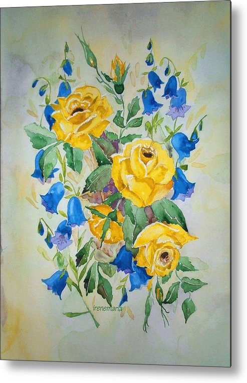 Roses Flowers Metal Print featuring the painting Yellow Roses And Blue Bells by Irenemaria Amoroso