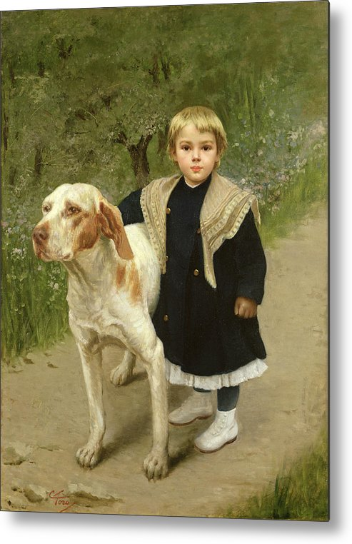 Young Metal Print featuring the painting Young Child And A Big Dog by Luigi Toro