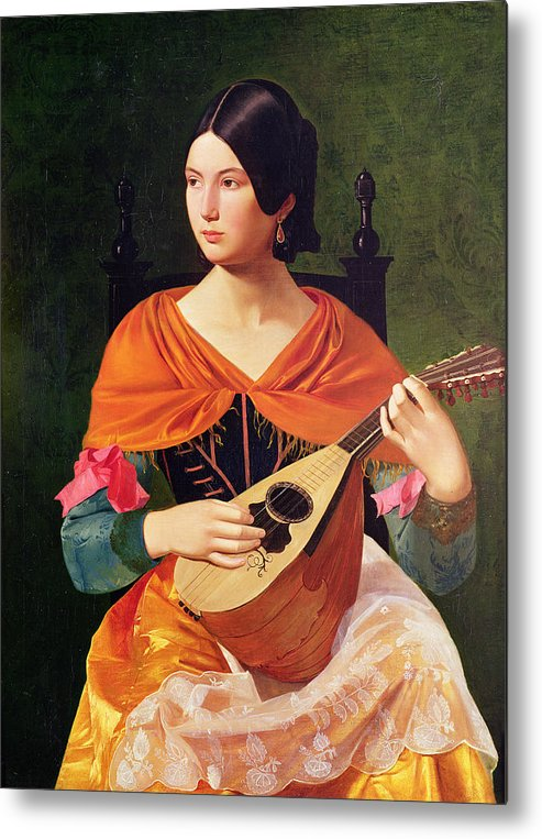 Young Woman With A Mandolin Metal Print featuring the painting Young Woman With A Mandolin by Vekoslav Karas