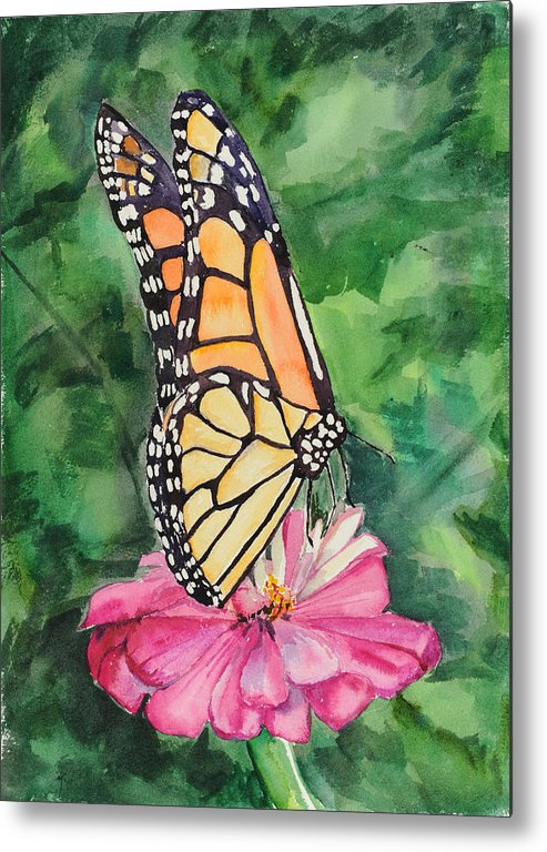 Watercolor. Butterfly Metal Print featuring the painting Zinnia And Monarch by Judy Loper