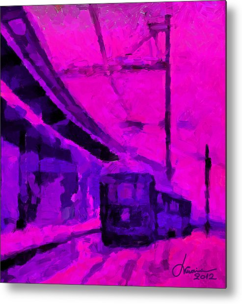 Train Metal Print featuring the digital art The 7am Train Tnm by Vincent DiNovici
