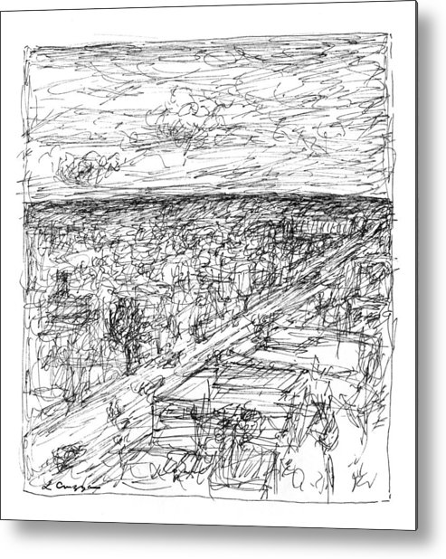 Landscape Metal Print featuring the drawing Skyline Sketch by Elizabeth Carrozza