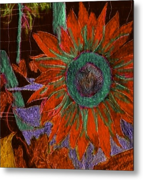 Digital Art Metal Print featuring the digital art Fall Sunflower by Margie Byrne