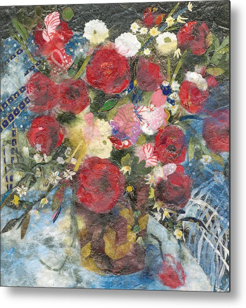 Limited Edition Prints Metal Print featuring the painting Flowers In A Basket by Nira Schwartz