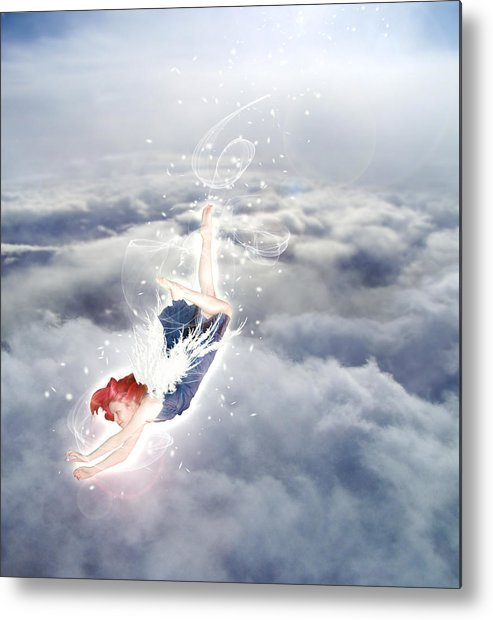 Angel Metal Print featuring the digital art Light Play Angels Descent by Nikki Marie Smith