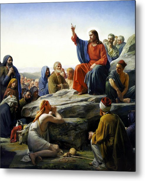 Sermon On The Mount Metal Print featuring the painting Sermon On The Mount by Carl Bloch