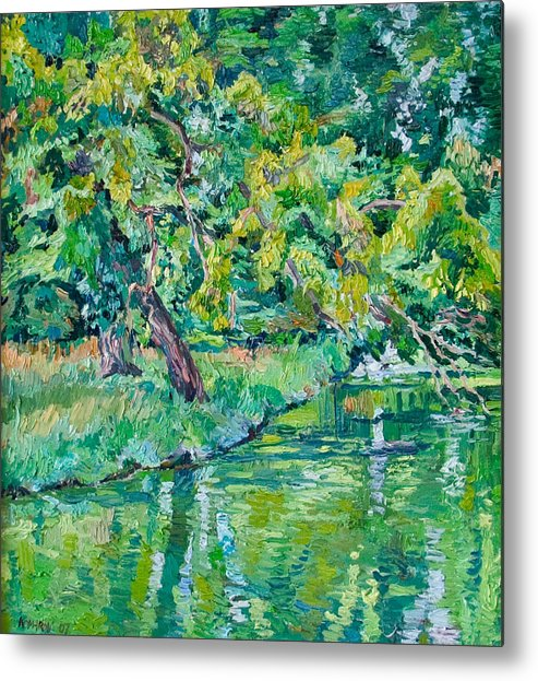 Landscape Metal Print featuring the painting Tree Near A Pond In Lednice Castle Park by Vitali Komarov