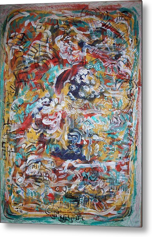 Abstract Metal Print featuring the painting Movements In Love by Helene Champaloux-Saraswati