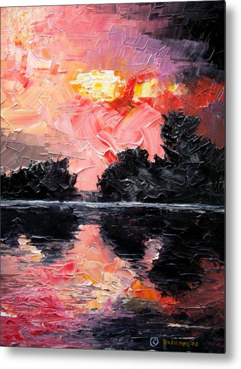 Lake After Storm Metal Print featuring the painting Sunset. After Storm. by Sergey Bezhinets