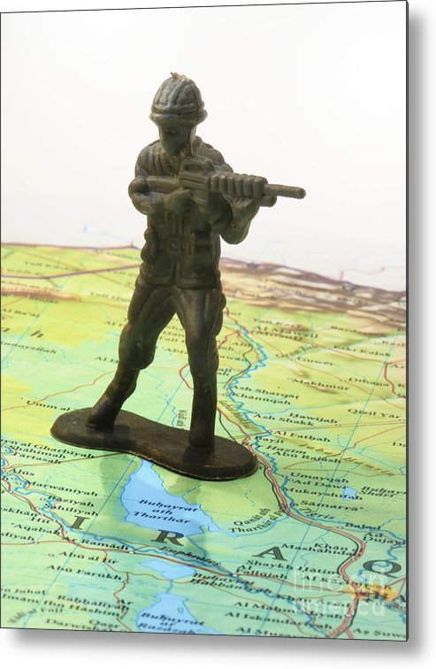 Aggression Metal Print featuring the photograph Toy Solider On Iraq Map by Amy Cicconi