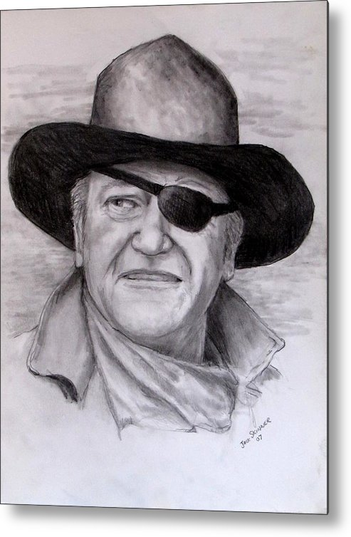 Cowboy Metal Print featuring the drawing The Duke by Jack Skinner