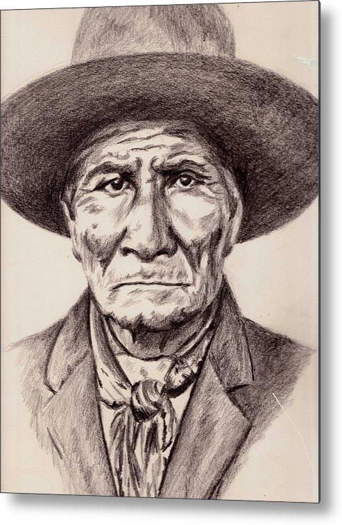 Geronimo Metal Print featuring the drawing Geronimo by Toon De Zwart