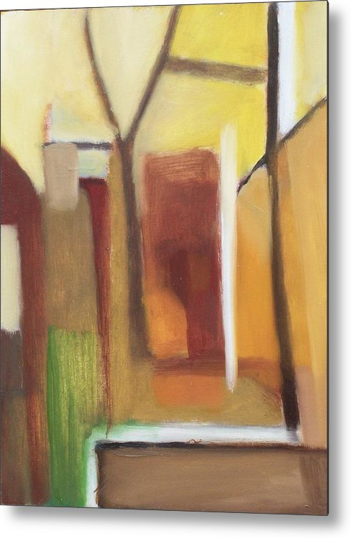 Landscape Metal Print featuring the painting Abstract Backyard 2008 by Ron Erickson