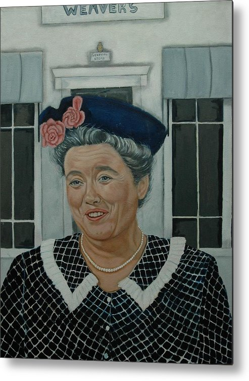 Aunt Metal Print featuring the painting Beatrice Taylor As Aunt Bee by Tresa Crain