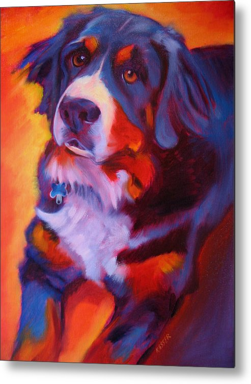 Purebreed Dog Metal Print featuring the painting Bernese Mountain Dog by Kaytee Esser