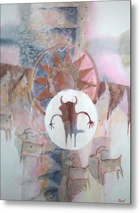 Indian Pictograph Metal Print featuring the painting Buffalo Dancer by Don Trout