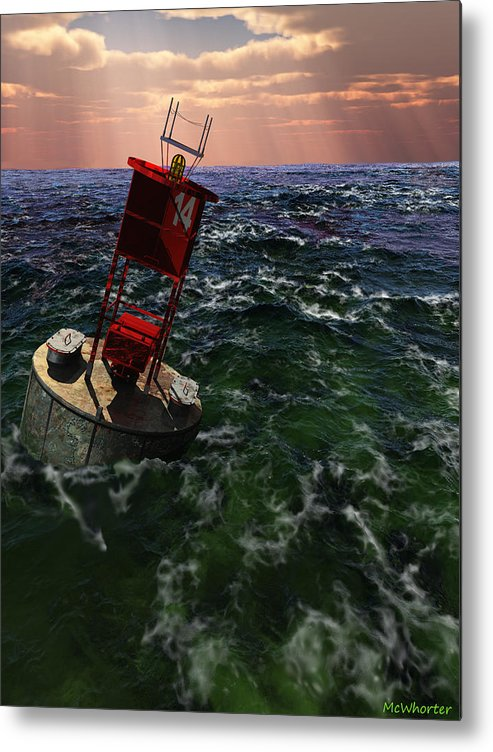 3d Metal Print featuring the painting Buoy 14 by Williem McWhorter