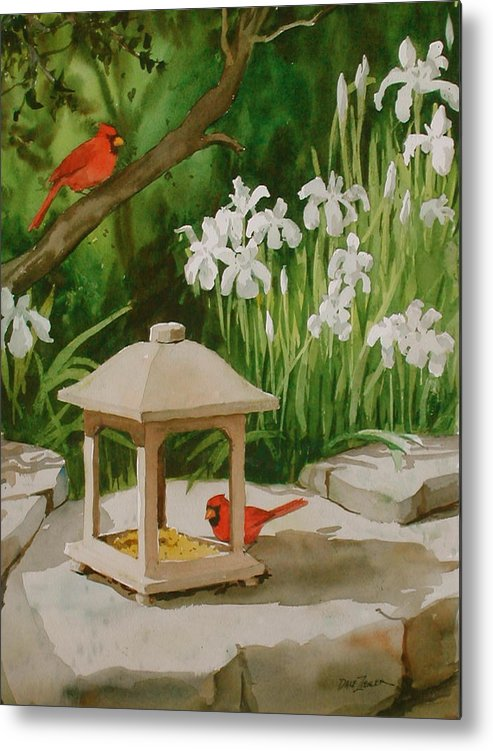 Birds Metal Print featuring the painting Cardinals Feeding by Faye Ziegler