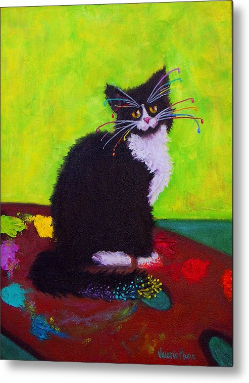 Cat Metal Print featuring the painting Ching - The Studio Cat by Valerie Aune