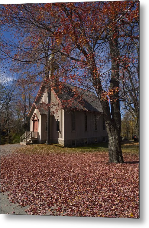 Nature; United States; Fall Foliage; Luzerne County; Historic Structure; Eckley Village; Church Metal Print featuring the photograph Church And Fall Foliage In Eckley Village by Bob Hahn
