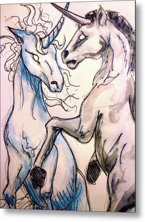 Unicorn Metal Print featuring the drawing Clash by Jennifer Zhao