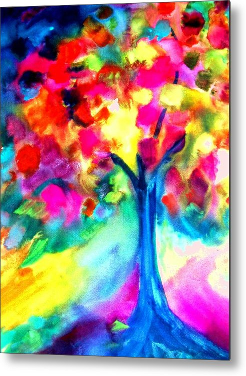 Landscape Metal Print featuring the painting Colorful Tree by Maritza Bermudez