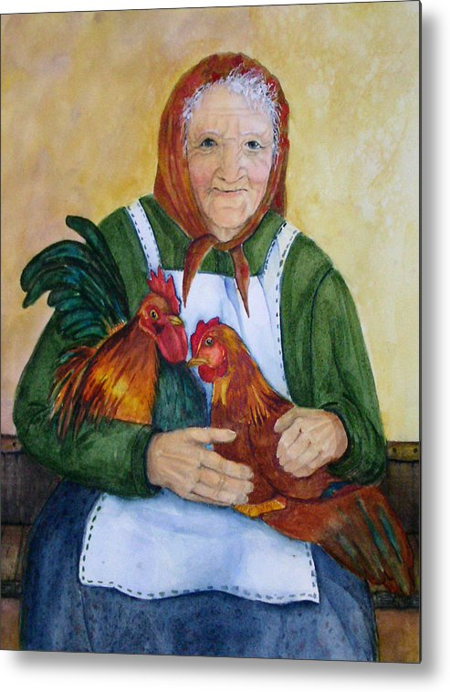 Old Lady Metal Print featuring the painting Country Chickens by Gina Hall