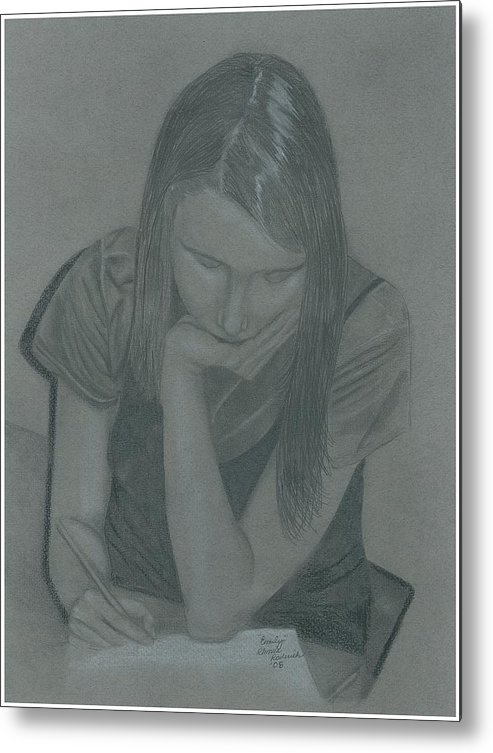 Charcoal Metal Print featuring the drawing Emily by Rhonda Rodericks