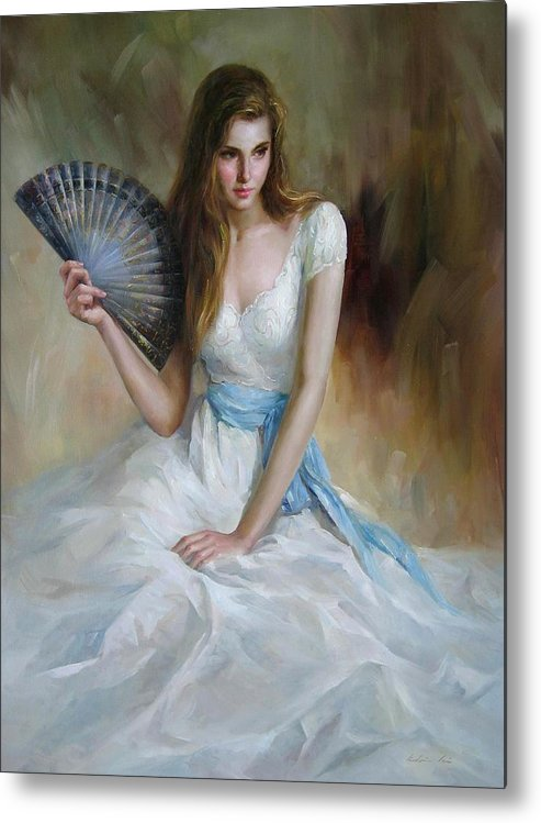Figurative Painting Metal Print featuring the painting Fan by Kelvin Lei