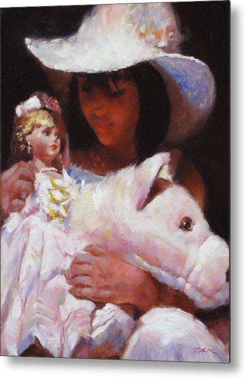 Girl Metal Print featuring the painting Girl In White by Takayuki Harada