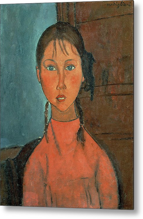Girl With Pigtails Metal Print featuring the painting Girl With Pigtails by Amedeo Modigliani